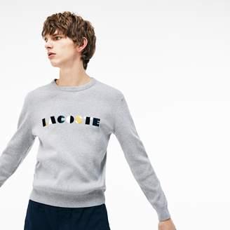 Lacoste Men's Crew Neck Lettering Ribbed Pima Cotton Sweater