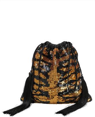 ATTICO Tiger Sequin Pouch Clutch