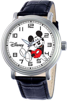 Disney Mens Mickey Mouse Black Leather Strap Watch