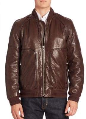 Andrew Marc Hughes Leather Fur-Lined Moto Jacket