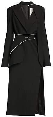 Off-White Women's Formal Tailored Long Wool-Blend Dress