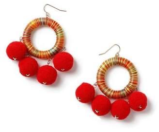 Miss Selfridge Bright multi wrap pom earrings