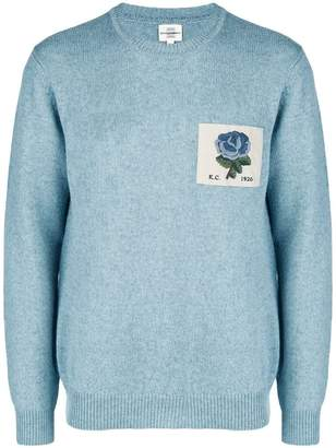 Kent & Curwen floral patch long-sleeve sweater