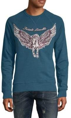Roberto Cavalli Patched Cotton Sweatshirt