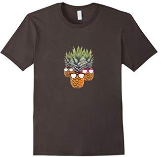 Group Pineapple Graphic T-Shirt Pink Blue Green Sunglasses