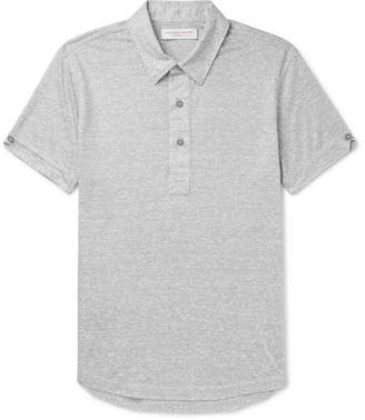 Orlebar Brown Sebastian Slim-fit Striped Linen-jersey Polo Shirt - Gray
