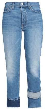 Vintage Blue Dunes Paneled High-Rise Straight-Leg Jeans
