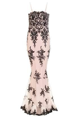 Quiz Nude Sequin Scallop Fishtail Maxi Dress