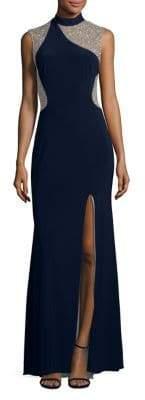 Xscape Evenings Beaded Applique Evening Dress