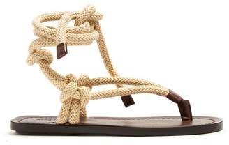 Saint Laurent - Nu Pieds Rope And Leather Sandals - Womens - Dark Brown