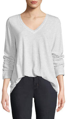 Eileen Fisher Plus Size V-Neck Long-Sleeve Pinstriped Tee