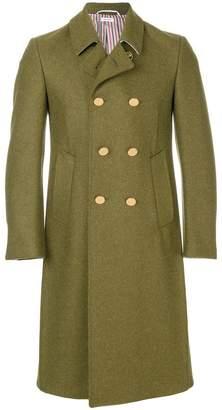 Thom Browne Pintuck Melton Wool Bal Collar Overcoat