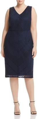 Adrianna Papell Plus Vintage Striped Lace Dress