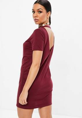 Missguided Burgundy V Back Short Sleeve T-shirt Dress, Red