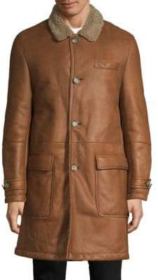 Brunello Cucinelli Shearling-Trimmed Leather Longline Coat