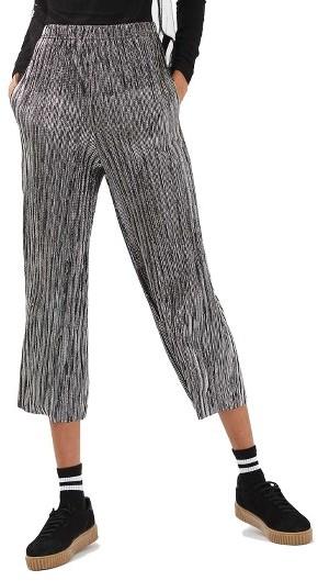 TopshopPetite Women's Topshop Metallic Stripe Plisse Trousers