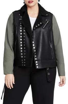Rachel Roy RACHEL  Studded Faux Leather Moto Jacket