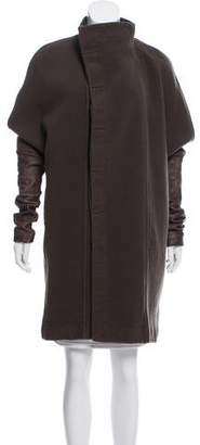 Rick Owens Leather-Accented Wool Coat