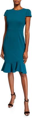 Betsey Johnson Scuba Crepe Sheath Dress with Ruffle Hem