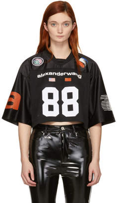 Alexander Wang Black Jersey Athletic Cropped T-Shirt