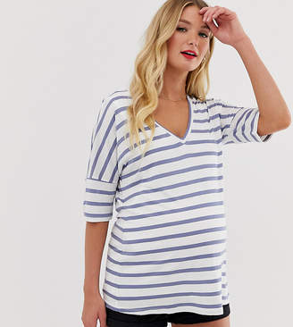 Asos Nursing DESIGN Maternity nursing v neck t-shirt in stripe