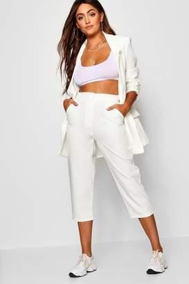 boohoo Kathryn Slim Leg Contrast Button Cropped Trouser