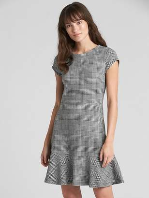Gap Plaid Fit and Flare Peplum Dress in Ponte