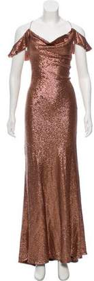 Rachel Zoe Sequin Accented Cold-Shoulder Gown w/ Tags