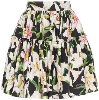 Dolce & Gabbana lily print flared skirt