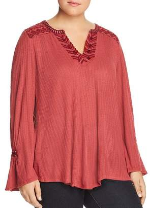 Lucky Brand Plus Embroidered & Textured Tunic