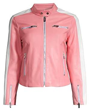 The Mighty Company Women's The Camdon Side Stripe Leather Jacket