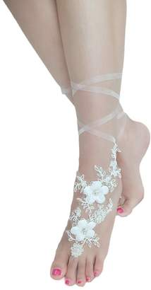 EllieHouse Womens Lace Barefoot Sandals,Beach Wedding Anklet A08