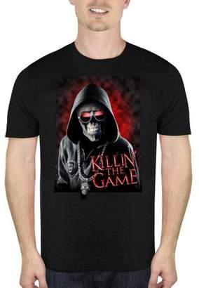 HALLOWEEN Skeleton Killin' The Game Men's Halloween Humor Graphic T-shirt, up to Size 5XL