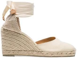 Castaner beige Carina 80 canvas wedge heels