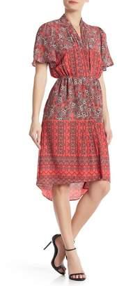 &.Layered V-Neck Floral Print Drape Dress