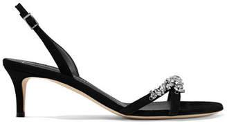 Giuseppe Zanotti Crystal-embellished Suede Slingback Sandals - Black