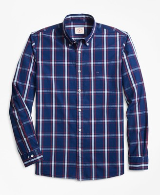 Brooks Brothers Indigo-Dyed Plaid Cotton Broadcloth Sport Shirt