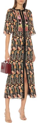 Temperley London Rosy floral satin midi dress