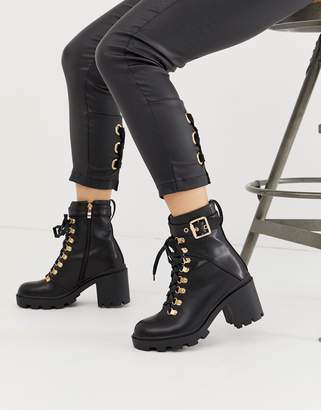 Public Desire Swag black chunky lace up boots with gold hardware