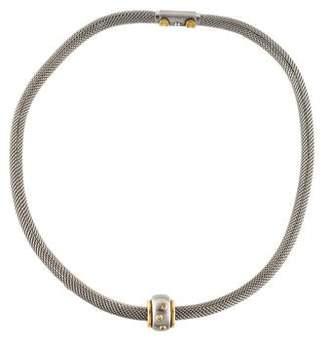 18K Diamond Slider Pendant Mesh Necklace