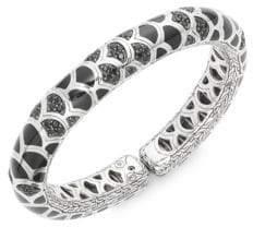 John Hardy Naga Black Sapphire, Enamel & Sterling Silver Slim Flex Cuff Bracelet