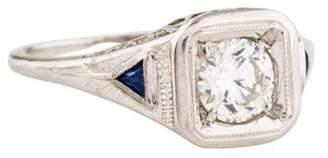 Ring 18K Diamond & Synthetic Sapphire Filigree