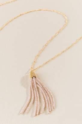 francesca's Aubrey Glass Beaded Tassel Necklace in Blush - Champagne