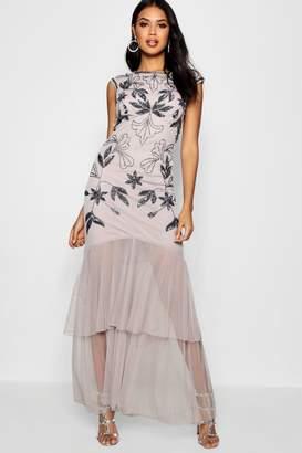 boohoo Boutique Fran Embellished Ruffle Maxi Dress