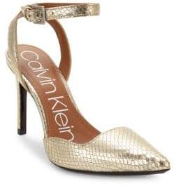 Calvin Klein Embossed Leather Ankle-Strap Pumps/3.5""
