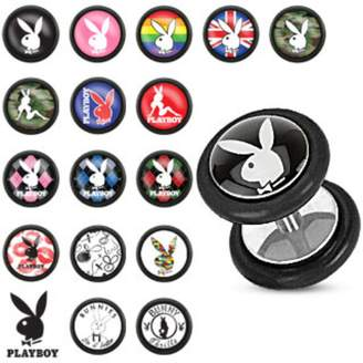 Playboy Bunny Logo Print Inlay 316L Surgical Steel Fake Plug with O-Rings (Sold as a Pair)