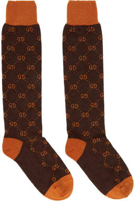 Gucci Brown and Orange Alpaca GG Supreme Socks