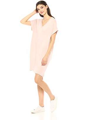 Daily Ritual Women's Supersoft Terry Deep V-Neck Roll-Sleeve High-Low Dress