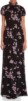 Giambattista Valli Black Cherry Print Silk Gown