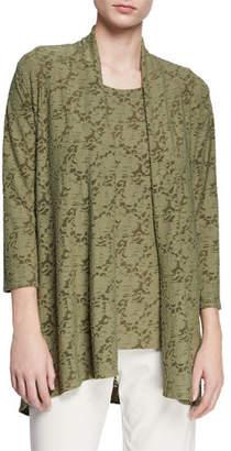 Caroline Rose Plus Size Rose Garden 3/4-Sleeve Side-Fall Cardigan